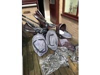 Icandy black jack double buggy with carry cot.
