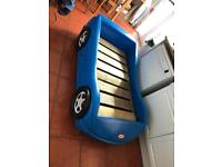 Little tikes racing car blue toddler bed comes with mattress