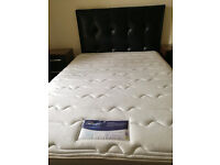 1 Double Leather Bed + 2x1 Bedside Drawers + 1x6 Drawers Chest + 1 Silent Night 2100 Matress