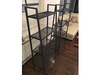 Metal shelves / bookcase pair