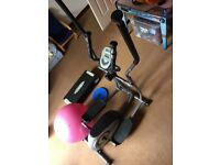 Exercise machine, ball, ab roller, twist plate, dumbbell set and aerobic step