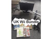 【UK Nintendo Wii Black Console bundle】Console+16''HD TV+Remote+Nunchunk+Blace Board+5 Games+More