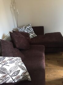 Brown Chaise Longue and Swivel Cuddle Chair