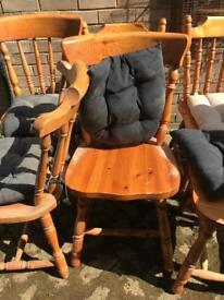 6 pine chairs