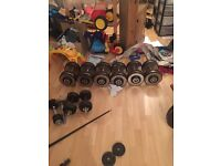 Heavy dumbbells Olympic bar and plates