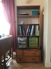 Pine bookcase and drawers