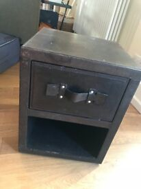 TWO DARK BROWN LEATHER BEDSIDE TABLES
