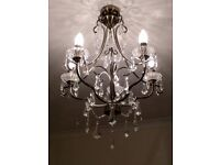 Chandelier, five arms, chrome and droplets