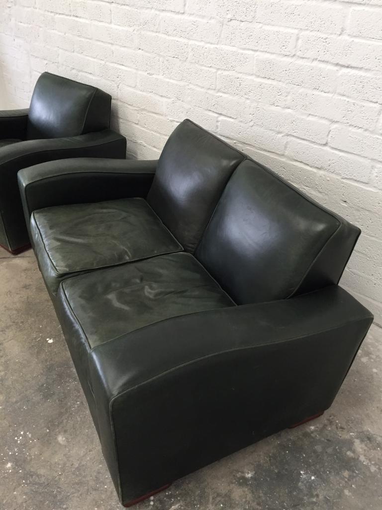 Art deco vintage leather sofa armchair - Art Deco Vintage Real Leather Sofa And Armchair Chair Image 1 Of 8