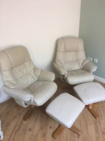 Leather Effect Recliiner Chairs with Footstools for quick sale