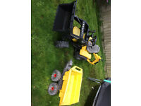 Ride on Tractor with digger attachment and trailer