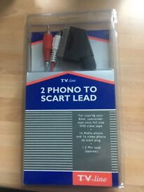 1.2m Scart Phono lead as new