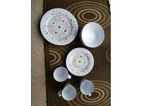 Melamine dinner set for caravan, camping etc