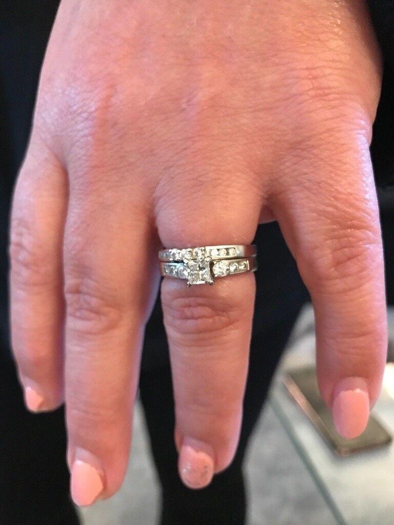 Princess cut diamond ring & eternity ring 14ct white gold 0.64ct ...