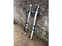 Pair of Thule ProRide 591 Bike Rack Bicycle Cycle Carriers Roof Mounted With Thule AeroBars