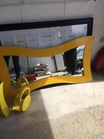 Yellow painted mirror,