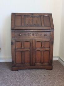 Bureau - solid wood, with flap, drawer and cupboard