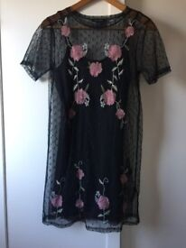 New look mesh floral dress - size 6