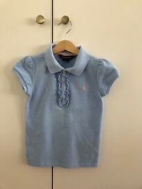 Ralph Lauren blue polo top, size 6 year old, as good as new
