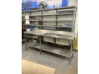 Stainless steel double sink unit
