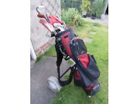 Regal golf bag with stand, clubs and Merlin folding trolley