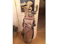Full set of golf clubs with bag, junior or women's/ladies