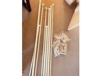 IKEA RÄCKA / HUGAD Double curtain rod combination, white (4 sets)