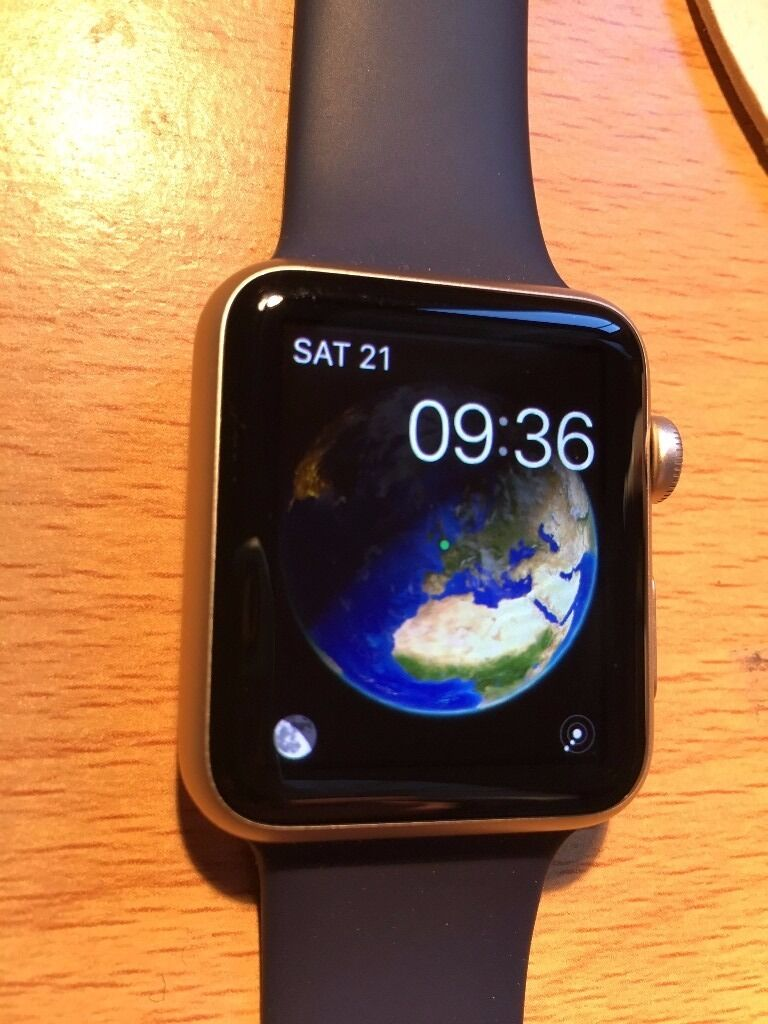 Apple Watch 42mm Rose Gold Aluminium Case With Midnight Blue Sport 2 Series Band 1