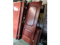 8 solid mahogany internal doors with handles & hinges.