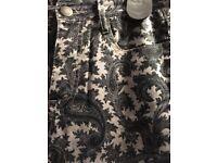 FCUK paisley patterned jeans size 8