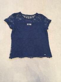 Hollister navy floral sheer lace shirt size small