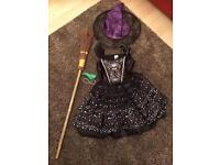 Witches dress hat and broom Age 5/6