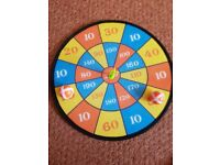 a stick on soft dart TOY board with 2 stick on balls and 2 arrow