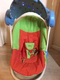 Mamas & Papas Musical Auto Rock Light with canopy Baby swing Chair very good condition