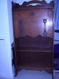 Lovely vintage oak writing bureau / bookcase