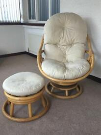 Retro Cane Swivel chair and Footstool