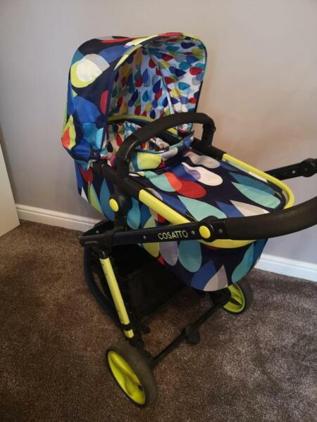 Cosatto Giggle 2 Pitter Patter 3 wheeler Pram/Pushchair Travel System Inc Car Seat/Carry Cot for sale  Rotherham, South Yorkshire