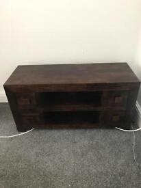 Solid Oak 4 Drawer Tv Unit