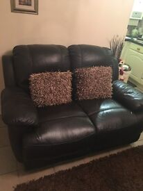 Dark brown leather 2 to seaters