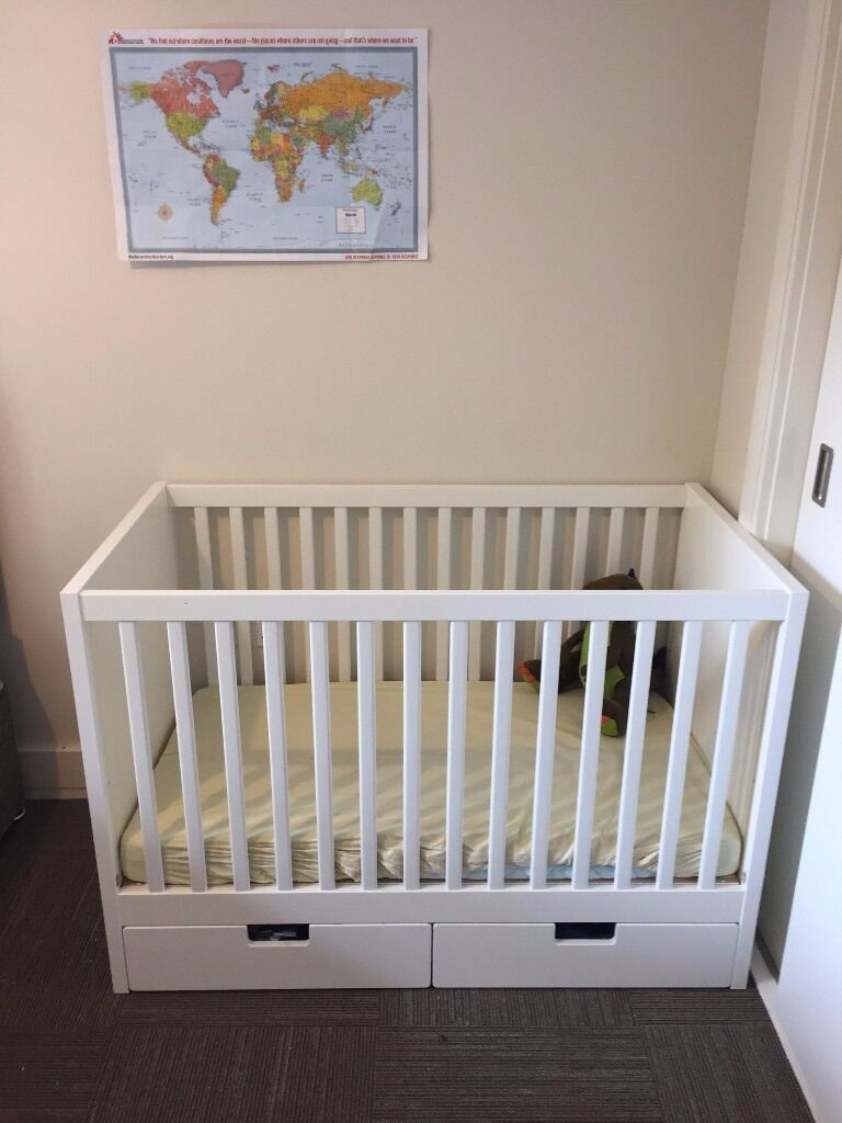IKEA Cot w/ Drawers; Inc. Mattress, Sheets; Very Good Condition