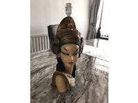 50's Tretchikoff Original Kitsch Chalkware Lamp - Oriental Lady