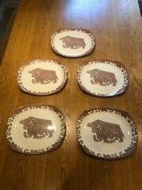 5 x Vintage Ironstone Beefeater Fergus The Bull Cream & Brown Steak / Cow Plates