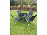 Garden Patio glass table and 4 chairs