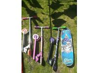 Teenage mutant ninja turtle, hello kitty, skate board job lot scooters