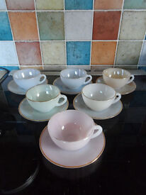 ARCOPAL OPALESCENT HARLEQUIN PASTEL COLOURED SMALL COFFEE CUPS & SAUCERS X6