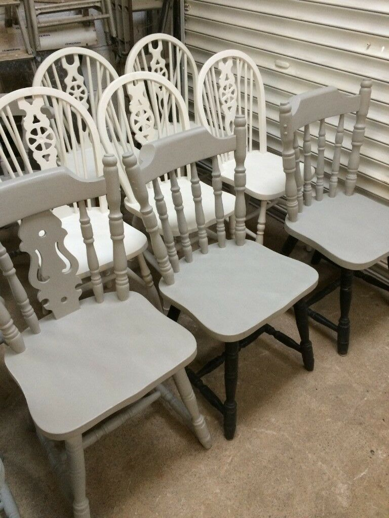 Outstanding Painted Wooden Chairs Annie Sloan Old White Paris Grey 20 Each In Plymouth Devon Gumtree Home Interior And Landscaping Oversignezvosmurscom