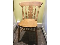 Pine table 5' x 3', plus 4 chairs, very solid and chunky