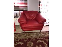 Red leather funky arm chair