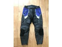 "Frank Thomas 34"" Men's Leather Motorbike Trousers"