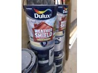 11 5 litre tins of dulux weather shield paint country cream exterior masonry